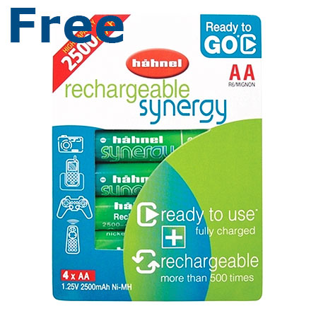 Free Pack of 4 X AA Hahnel 2500 mAh re-chargeable batteries