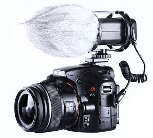 Microphone with shield on DSLR